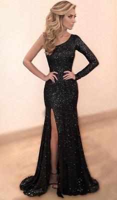 Elegant Black Sequins Slit Long Sleeve One Shoulder Prom Dress UK On Sale BA6880_1