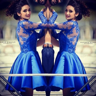 Modern Jewel Royal Blue Homecoming Dress UK Long Sleeve With Lace Appliques_2