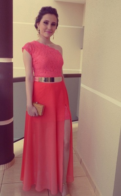 Modern One-shoulder Chiffon Prom Dress UK With Lace Front Split_2