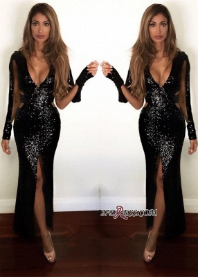 Black Sequined Prom Dress UK | Long-Sleeve Evening Gowns BA9892_2