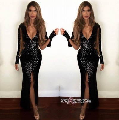 Black Sequined Prom Dress UK | Long-Sleeve Evening Gowns BA9892_1
