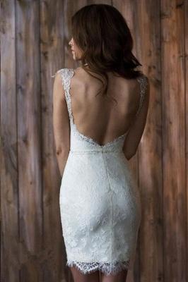 Elegant Cap Sleeve Lace Wedding Dress Tulle Detachable_4