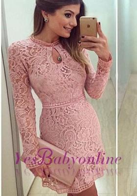 Neckline Short Sleeves A-line Lace Scoop Pink Long Prom Dress UK BA4047_2