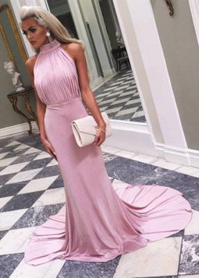Sexy Sleeveless High Neck Long Prom Dress UK_1