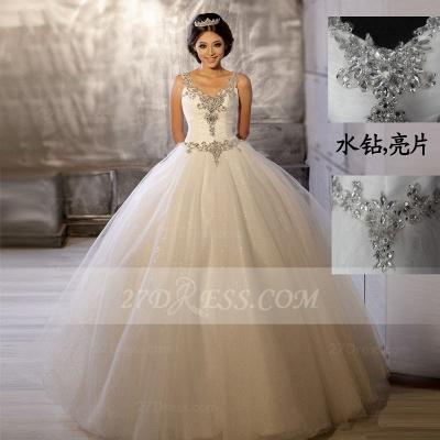 Floor-length Straps Elegant Ball Gown Wedding Dresses UK Sleeveless Beads Sequins Zipper Fashion Bridal Gowns_1
