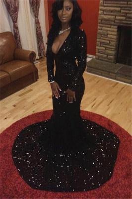 Elegant Black Long Sleeve Prom Dress UK Sequins Mermaid Party Gowns CE047 BK0_2