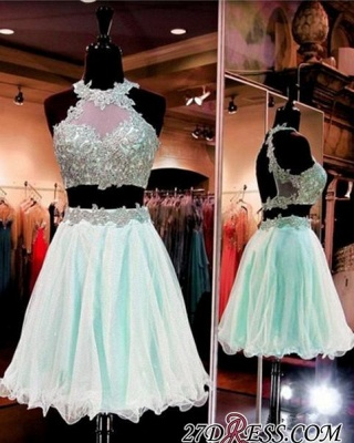Halter Two-Pieces Sleeveless Short Popular Appliques Homecoming Dress UK_3
