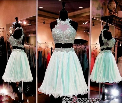 Halter Two-Pieces Sleeveless Short Popular Appliques Homecoming Dress UK_2