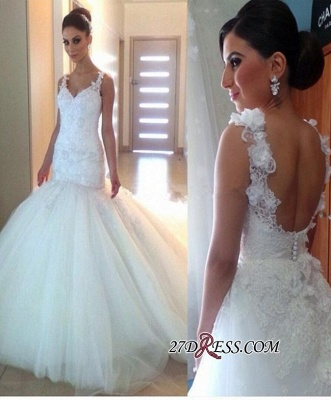 Elegant Open-Back Tulle Sexy Mermaid Appliques V-Neck Buttons Wedding Dress_2