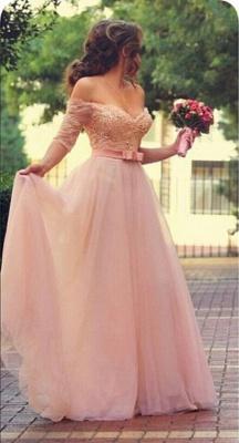 Lovely Princess Beadings Tulle Half Sleeves Long Prom Dress UK_1