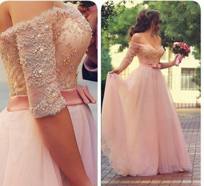 Lovely Princess Beadings Tulle Half Sleeves Long Prom Dress UK_2