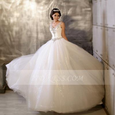 Floor-length Straps Elegant Ball Gown Wedding Dresses UK Sleeveless Beads Sequins Zipper Fashion Bridal Gowns_2