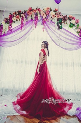 Tulle Off-the-Shoulder Appliques Gorgeous A-line Bridesmaid Dress UK_1