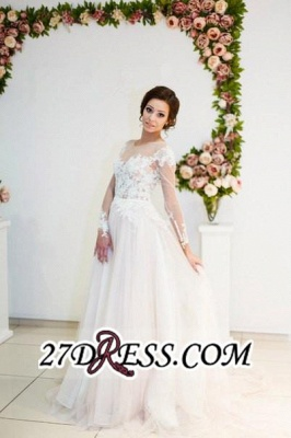 Zipper Elegant Long-Sleeve Button Sweep-Train Appliques A-line Lace Wedding Dress_1