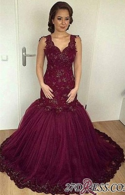 V-neck Beaded Lace Sheath Burgundy Puffy Straps Appliques Tulle Evening Gown_2