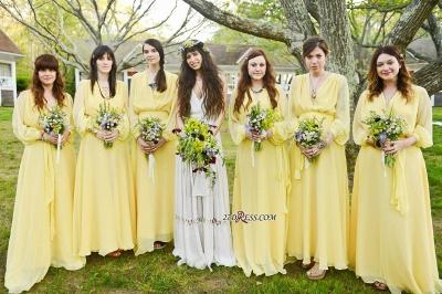 Chiffon Chic Long-Sleeve V-Neck Yellow Bridesmaid Dress UK_2