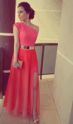 Modern One-shoulder Chiffon Prom Dress UK With Lace Front Split_1