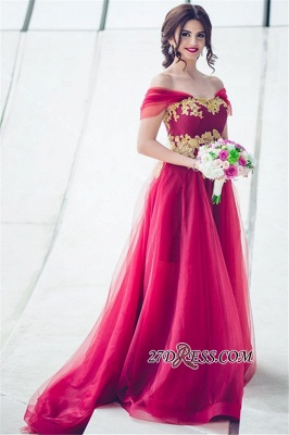 Tulle Off-the-Shoulder Appliques Gorgeous A-line Bridesmaid Dress UK_4