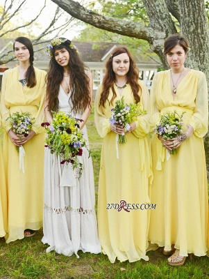 Chiffon Chic Long-Sleeve V-Neck Yellow Bridesmaid Dress UK_3