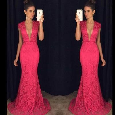 Elegant Fuchsia Deep V-Neck Prom Dress UKes UK Cap Sleeve Lace Floor Length AP0_3