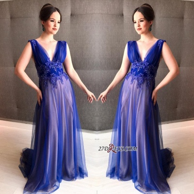 Royal blue prom Dress UK, tight tulle evening gowns_2