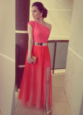 Modern One-shoulder Chiffon Prom Dress UK With Lace Front Split_3