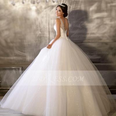 Floor-length Straps Elegant Ball Gown Wedding Dresses UK Sleeveless Beads Sequins Zipper Fashion Bridal Gowns_4