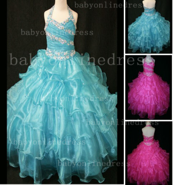 Beaded Sexy Girls Pageant Dresses for Sale Inexpensive Crystal Floor-length Organza Gowns Online_1