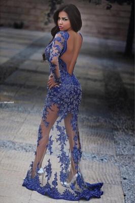 Elegant V-neck Lace Appliques Royal Blue Prom Dress UK Front Split_4
