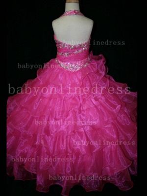 Beaded Sexy Girls Pageant Dresses for Sale Inexpensive Crystal Floor-length Organza Gowns Online_5