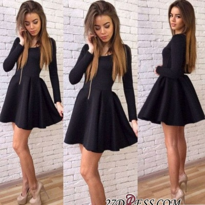 Black A-line Elegant Short Long-Sleeves Homecoming Dress UKes UK_2