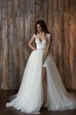 Elegant Cap Sleeve Lace Wedding Dress Tulle Detachable_1