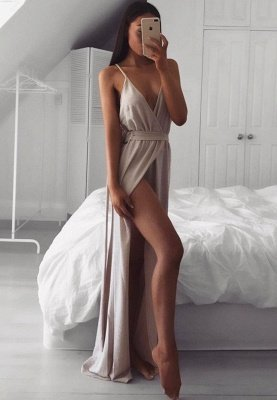 Sexy V-Neck Prom Dress UK | Long Evening Dress UK With Split_1