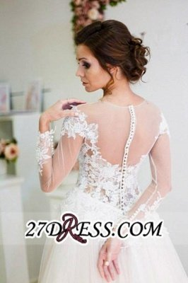 Zipper Elegant Long-Sleeve Button Sweep-Train Appliques A-line Lace Wedding Dress_3