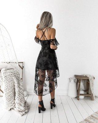Black Lace Homecoming Dress UK | 2019 Hi-Lo Mini Party Dress UK_4