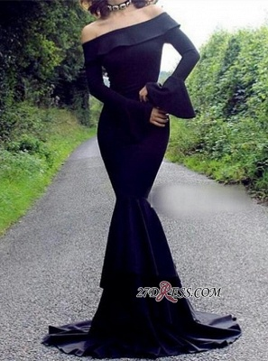 Mermaid Long-Sleeve Off-the-Shoulder Black Elegant Evening Dress UK_2