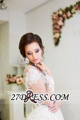 Zipper Elegant Long-Sleeve Button Sweep-Train Appliques A-line Lace Wedding Dress_2