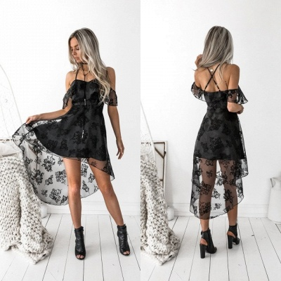 Black Lace Homecoming Dress UK | 2019 Hi-Lo Mini Party Dress UK_5
