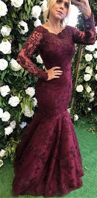Sexy Long Sleeve Burgundy Evening Dress UK Mermaid Lace Appliques BMT_1