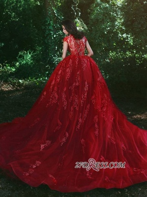 Luxurious Red Cap Sleeve Prom Dress UK Lace Appliques With Ruffles MH0_5