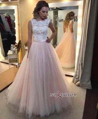 A-Line Lace Elegant Sleeveless Tulle Lace-up Wedding Dress_2