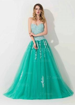 Modern Sweep Train Lace Appliques Evening Dress UK Princess Tulle Sleeveless_1