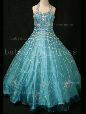 Flower Rhinestone Glitz Pageant Dresses for Girls Unique Wholesale Beaded Ball Gown Girls Dresses_5