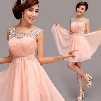 Gorgeous Sleeveless Short Chiffon Homecoming Dress UK With Beadings_4