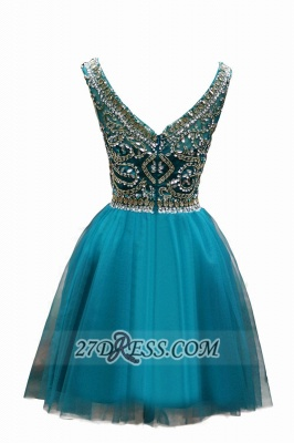 Sexy Scoop Cap Sleeve Cocktail Dress UK Crystals Tulle Short Homecoming Gown_2