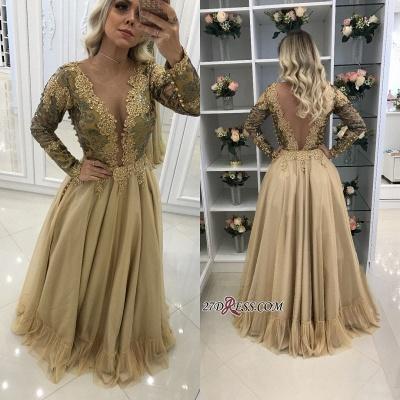 prom Dress UK with gold appliques, long sleeves evening Dress UKes UK_1