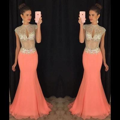 Stunning High-Neck Crystal Prom Dress UKes UK Mermaid Long Chiffon Party Gown TD036 AP0_3