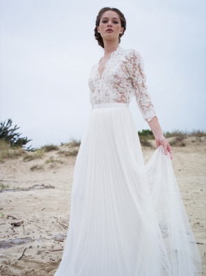 Simple A-line V-neck Long-Sleeves Lace Modern Wedding Dress_1