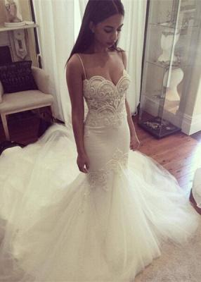 Delicate Tulle Lace Spaghetti Strap Wedding Dress Court Train_1
