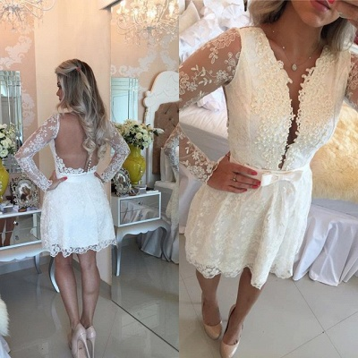 Newest Lace Appliques Mini Homecoming Dress UK Bow Long Sleeve BA6841_4